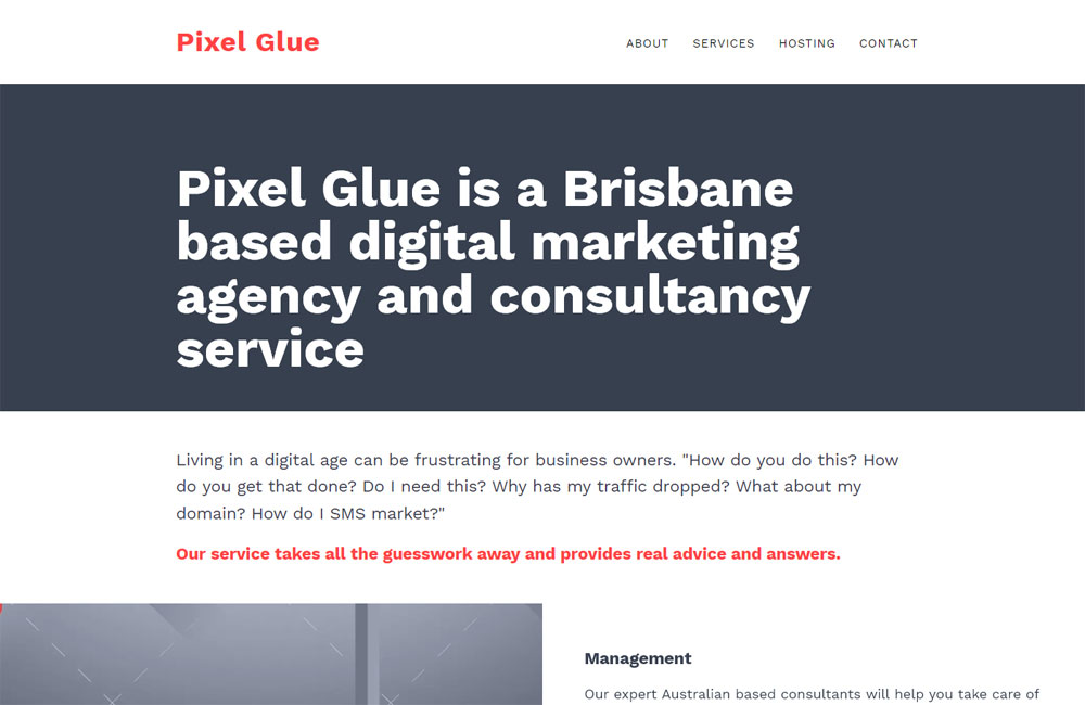 Pixel Glue - made with free Nimbo website builder