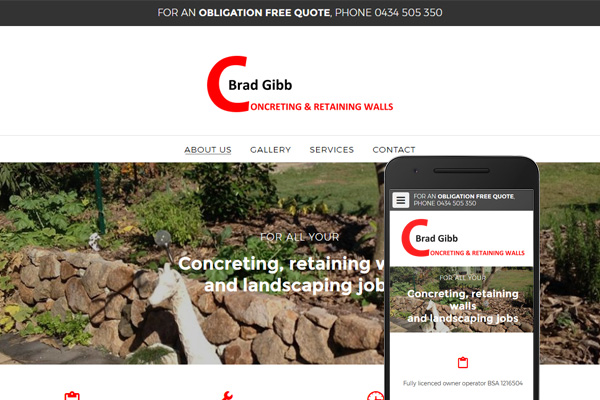 Free website Australia - BRAD GIBB Concreting and Retaining Walls