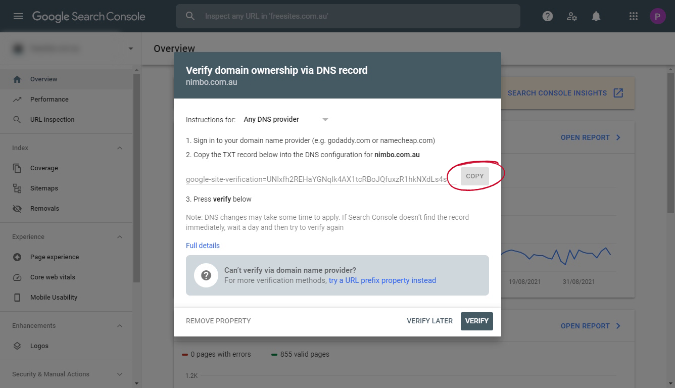 Verify domain ownership via DNS record at Google Search Console