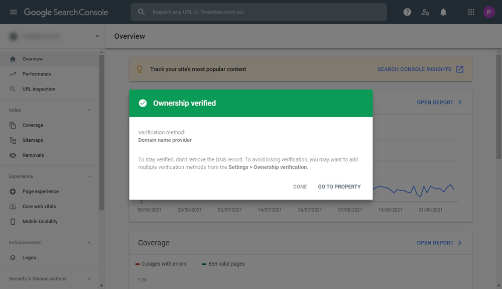 Domain ownership verified via DNS record at Google Search Console
